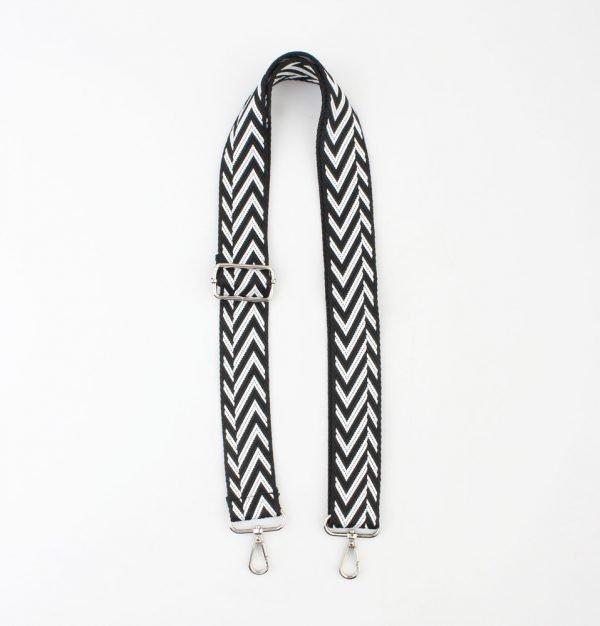 """Draagriem voor tassen """"Kara"""" zwart/wit"""