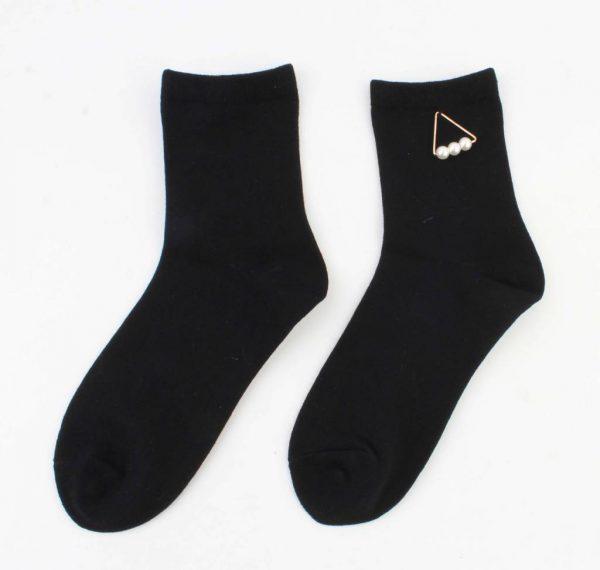 "Sokken ""Triangle parels"" zwart -"