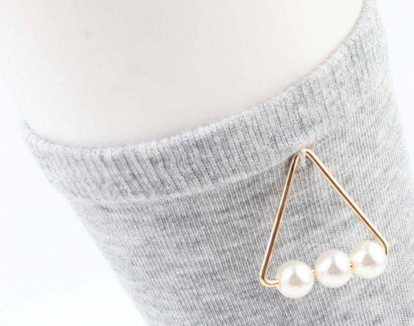 "Sokken ""Triangle parels"" grijs -"
