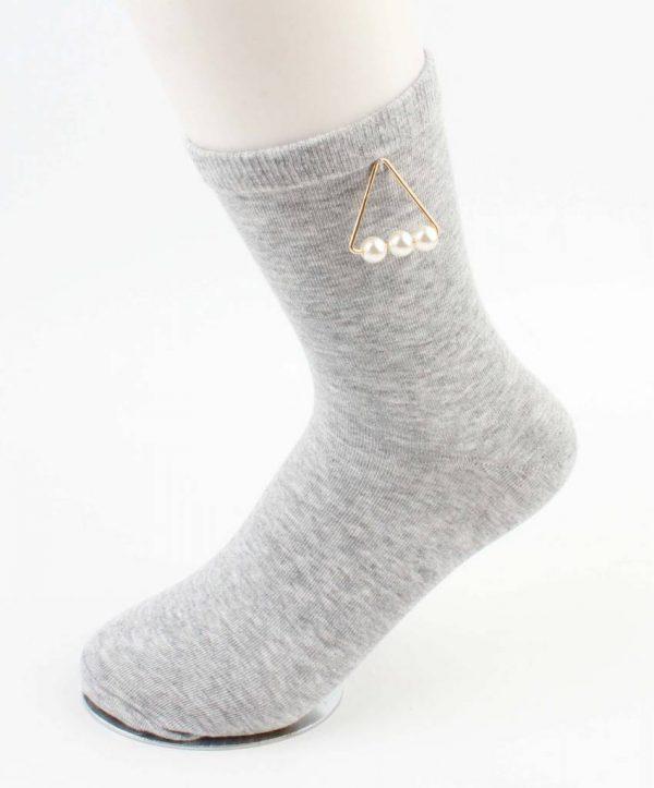 "Sokken ""Triangle parels"" grijs"