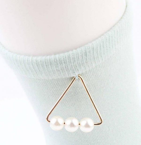 """Sokken """"Triangle parels"""" mint groen -"""