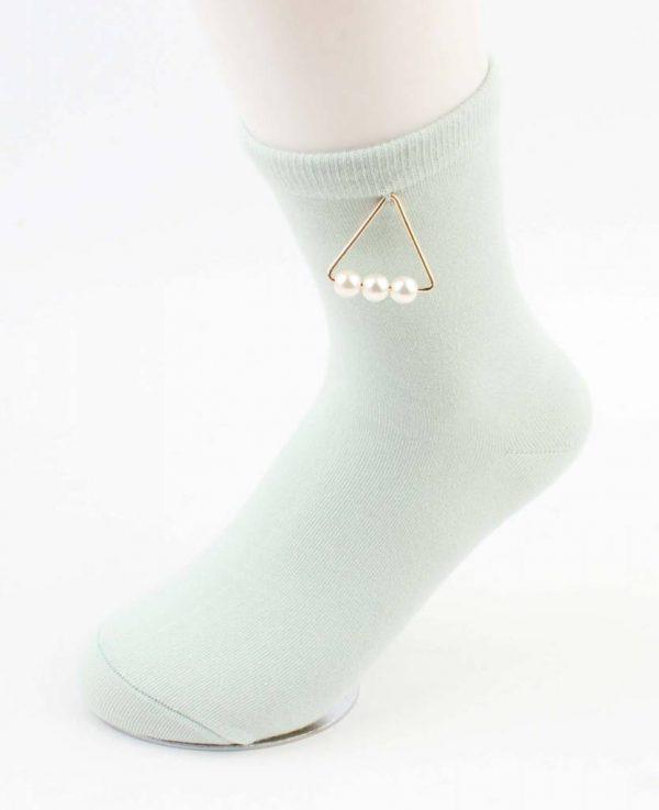 """Sokken """"Triangle parels"""" mint groen"""