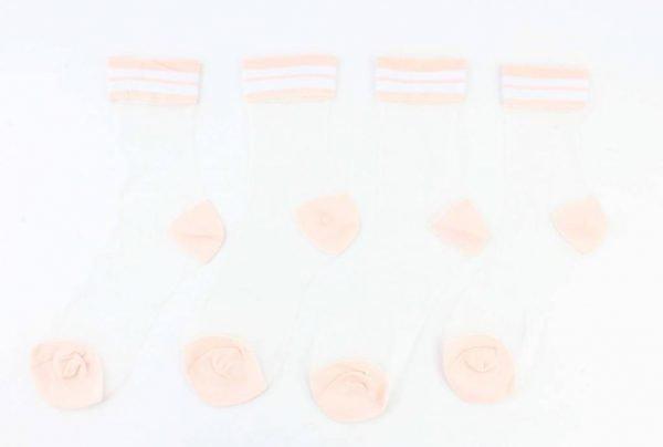 """Sokken """"Mesh & Stripes"""" oud roze, per 2 paar -"""