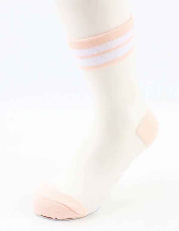 """Sokken """"Mesh & Stripes"""" oud roze"""