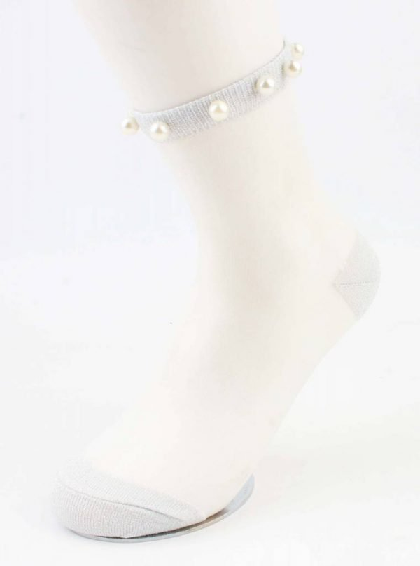 """Sokken """"Mesh & Pearls"""" grijs"""
