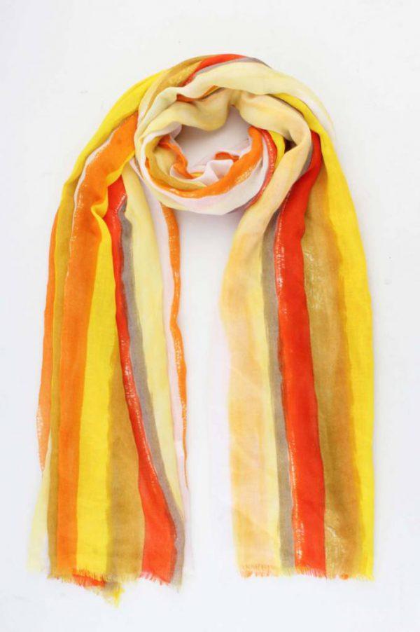 """Sjaal """"Kaya"""" geel  rechthoek gestreept"""