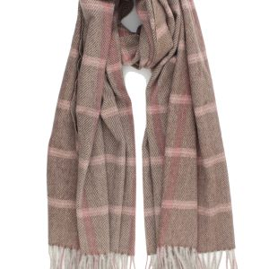 """Sjaal """"Louane"""" bruin is visgraat geweven sjaal met roze accent."""
