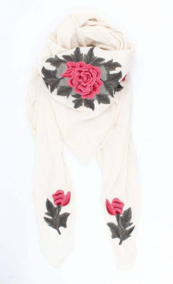 "Sjaal ""Roses"" vierkant wit"