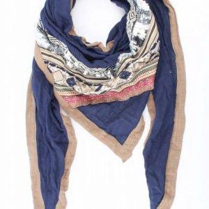 """Driehoek sjaal """"Borduursel"""" blauw"""