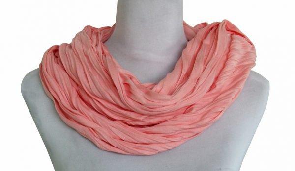 Sjaal Uni Jersey licht koraal