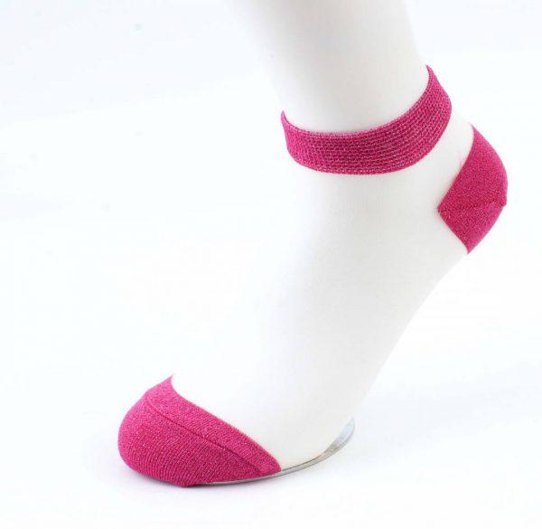 Sokken Lurex wit- fuchsia verpakt per 2 paar