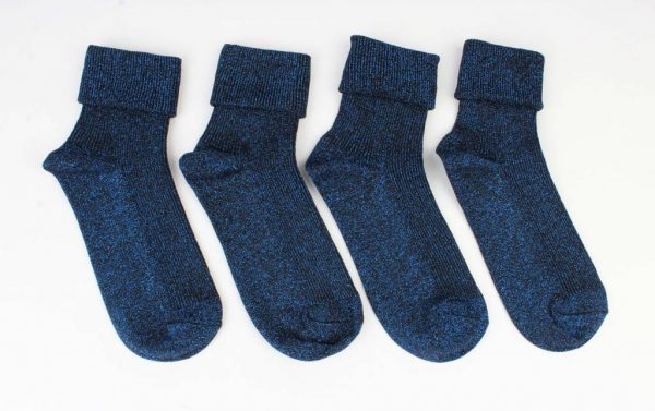 """Sokken """"Uni lurex"""" blauw, per 2 paar -"""