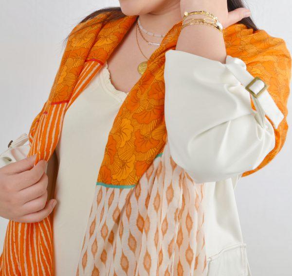 "Sjaal ""Geraldina"" oranje - Indini"