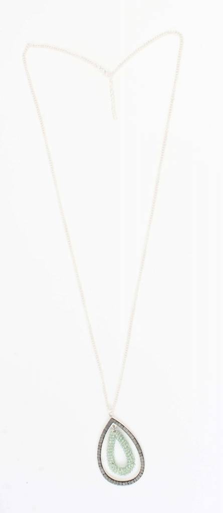 Ketting glaskralen druppel mint (318073)