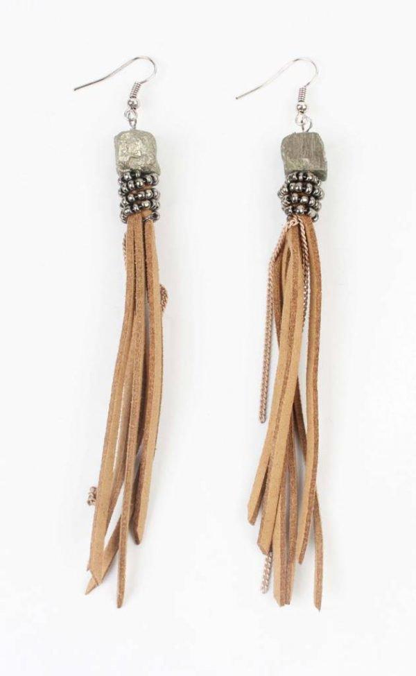Oorbel slingers leder bruin (335601)