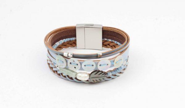 Armband leder met schelp denim blauw (327830)