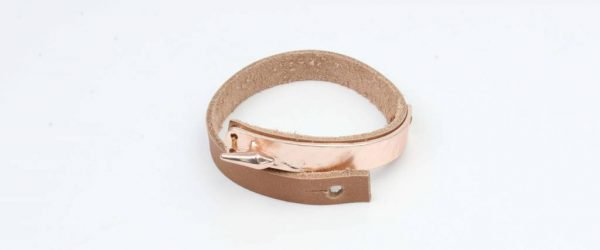 Armband bangle metaal/leder mat rosé (327833)
