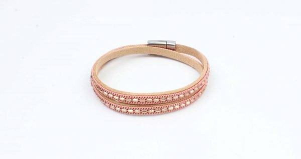 Wikkelarmband metalen kettinkjes roze (327847)