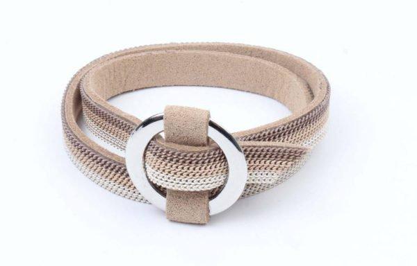 "Wikkelarmband ""Ring"" met kettinkjes taupe (327852) -"