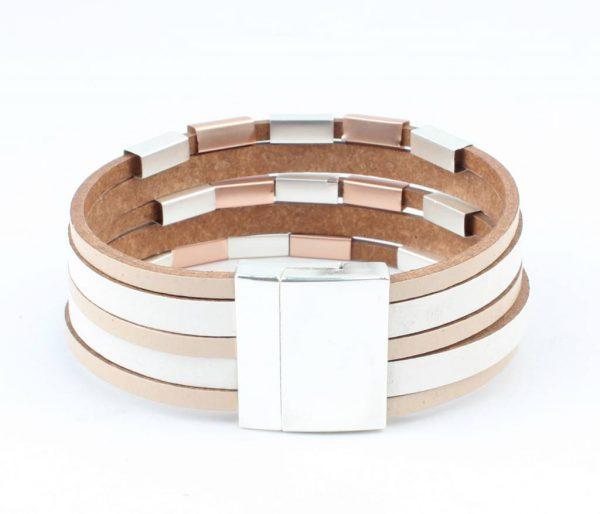 Leren multi row armband met metalen buisjes taupe -