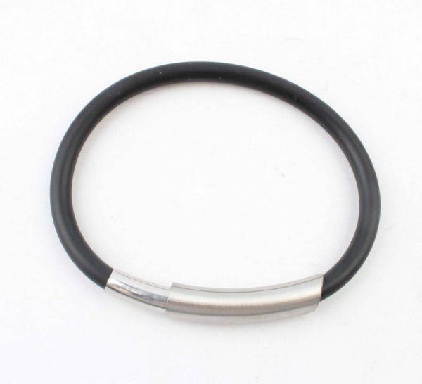 Armband rubber RVS met magneetsluiting