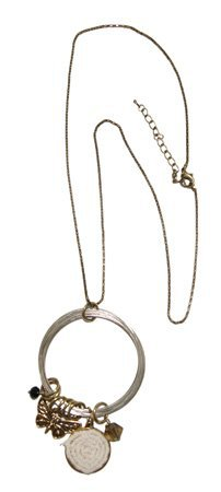 Lange Ketting met Ring en Hangers - Zilver/Brons