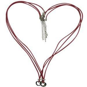 Multi Ring Halsketting - Heart Shape - Pastel Rood