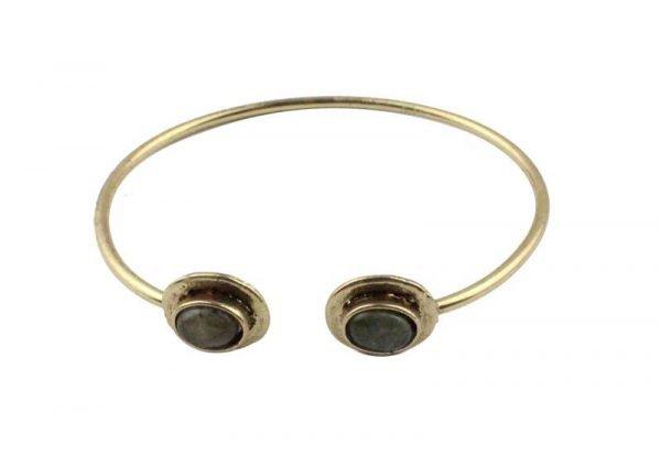 Gouden Button Armband - Goud/Zwart