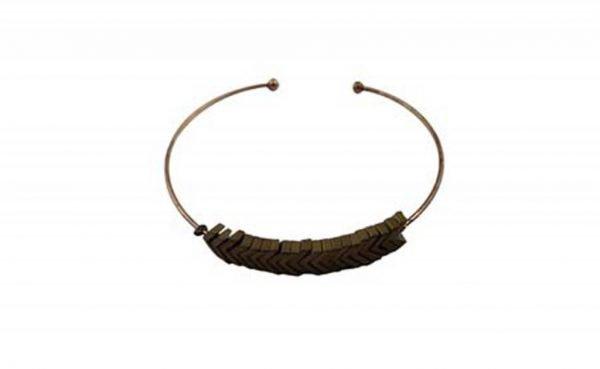 Open Bangle Armband - Symmetrie - Brons/Donkerbruin