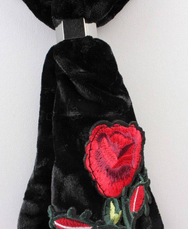 """Sjaal """"Gestikt roos"""" zwart -"""