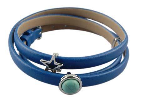 Drievoudige wikkelarmband - Blauw - Lichte Turquoise Bedeltjes