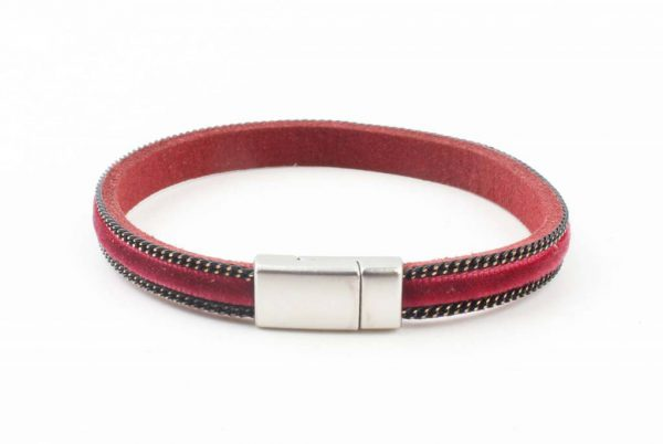 "Armband ""Fluweel"" kakhi rood -"