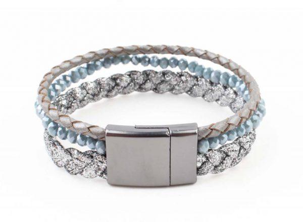 "Armband ""Braid"" blauw -"