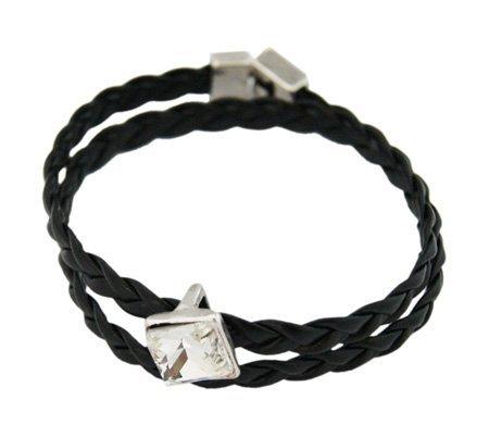 Dubbele Ribbel Armband - Enkel Edelsteentje/316L
