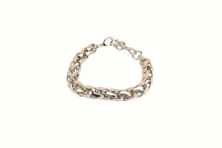 Klassieke dikke armband - Karabijnsluiting - Broken Silver