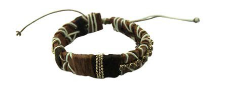Dikke Zachte Armband 'Laces' - Bruin
