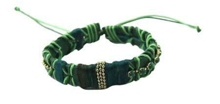 Dikke Zachte Armband 'Laces' - Groen