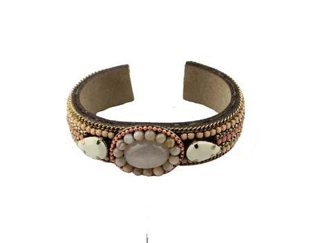 Open Armband - Schelp - Bruin