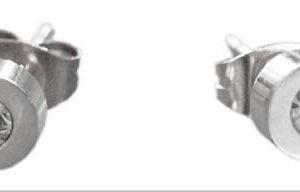 "Oorbel ""Strass"" RVS zilver"