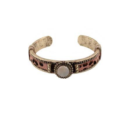 Open Armband - Leopard - Roze