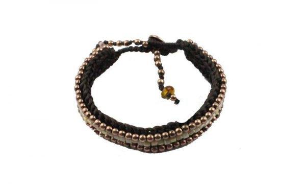 Losse Zwarte Armband - natuursteentjes goud