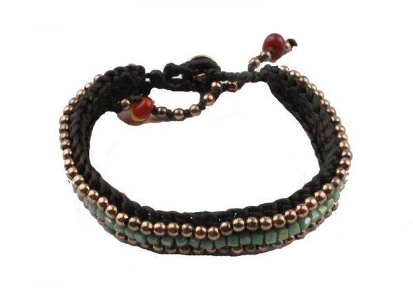 Rode & turquoise bolletjes armband