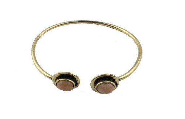 Gouden Button Armband - Goud/Roze