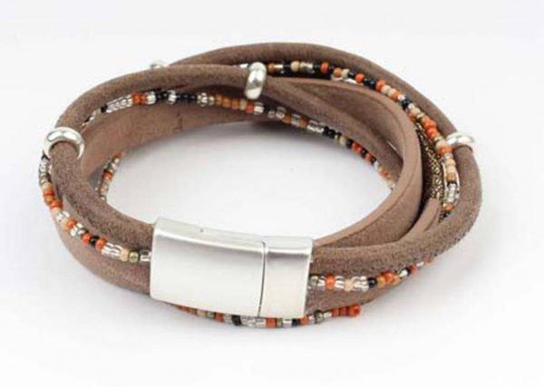 Leren Quadruple Armband - Kliksluiting